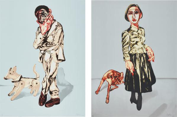 Zeng Fanzhi-Mask Series: Two Plates (Man And Dog; And Woman And Dog)-2006