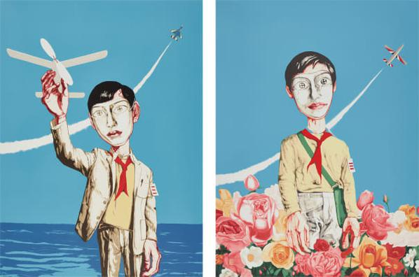 Zeng Fanzhi-Mask Series: Two Plates (Man Holding A Plane; And Plane And Flowers)-2006