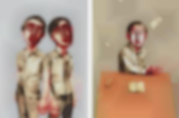 Zeng Fanzhi-Mask Series: Two Plates (Two Men; And Sitting Man)-2006