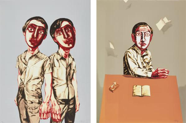 Zeng Fanzhi-Mask Series: Two Plates (Two Men; And Sitting Man)-2006