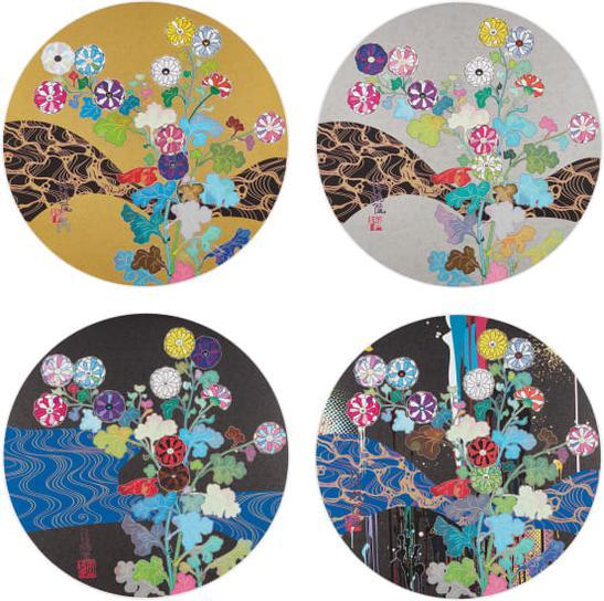 Takashi Murakami-The Golden Age. Hokkyo Takashi; Korin: Flowers; Korin: Azure River; And Korin: Stellar River In The Heavens-2015