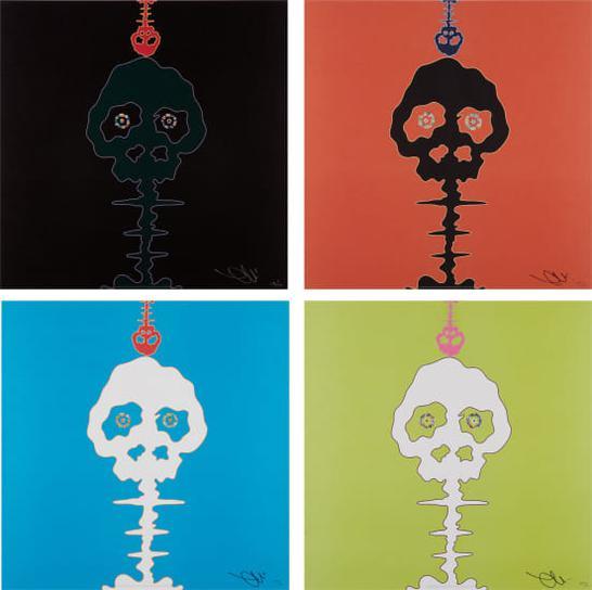 Takashi Murakami-Time Bokan-Black; Time Bokan-Red; Time Bokan-Blue; And Lime Green-Time-2008
