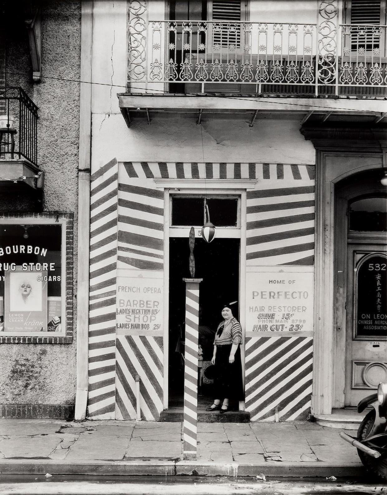 Walker Evans-Sidewalk And Storefront (Barbers Shop), New Orleans-1935
