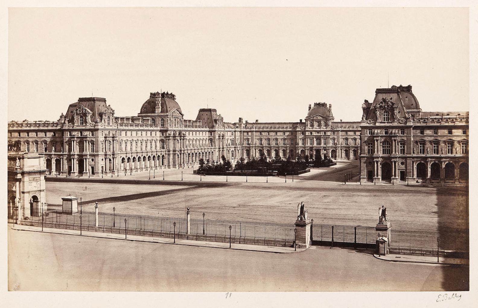 Edouard Baldus-Louvre, Interior Court; Pantheon; And Pavillon Mollien, Palais De Louvre, Paris-1857