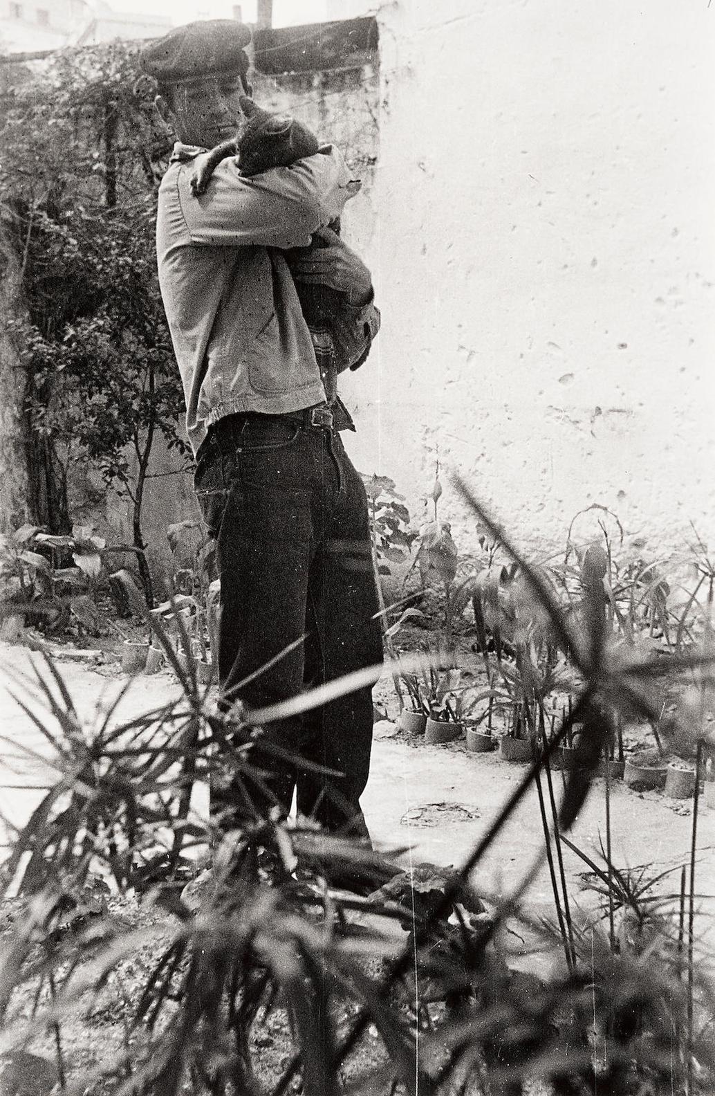 Allen Ginsberg - Jack Kerouac Holding William S. Burroughs Cat, Villa Muneria, Tangiers-1957