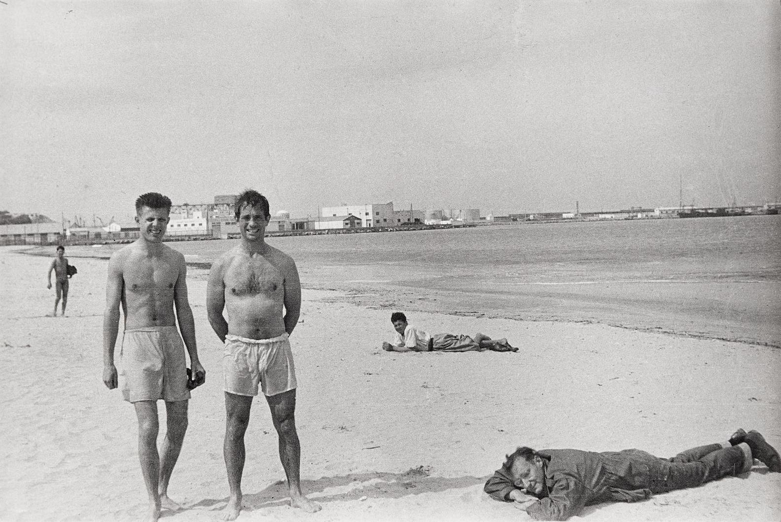 Allen Ginsberg - Jack Kerouac, Peter Orlovsky And William S. Burroughs, Tanger Beach, March-1957