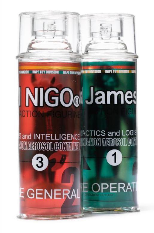 Bape X Futura - Spray Bottle Action Figure (I. El Nigo ; II. Le James) (Two Works)-