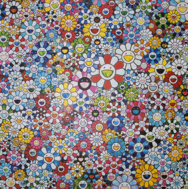 Takashi Murakami-Flowers With Smiley Faces-