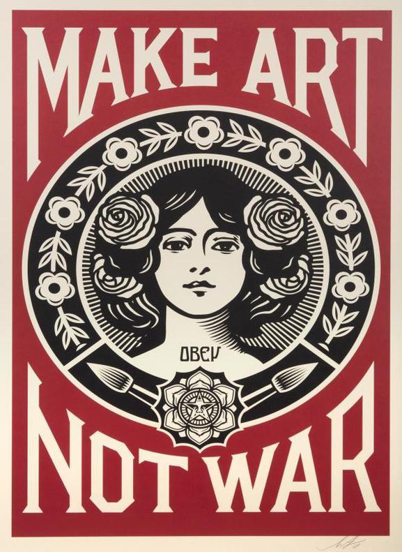 Shepard Fairey-Make Art Not War-2018