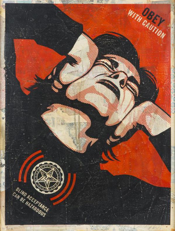 Shepard Fairey-Obey With Caution (Blind Acceptance Can Be Hazardous)-2006