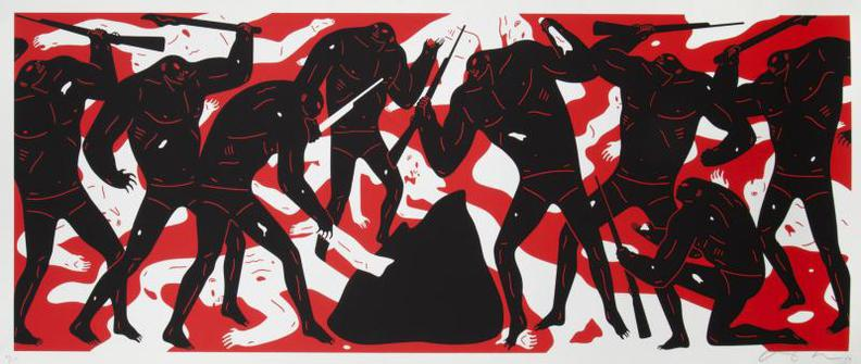 Cleon Peterson-Burning The Dead (Red)-2016