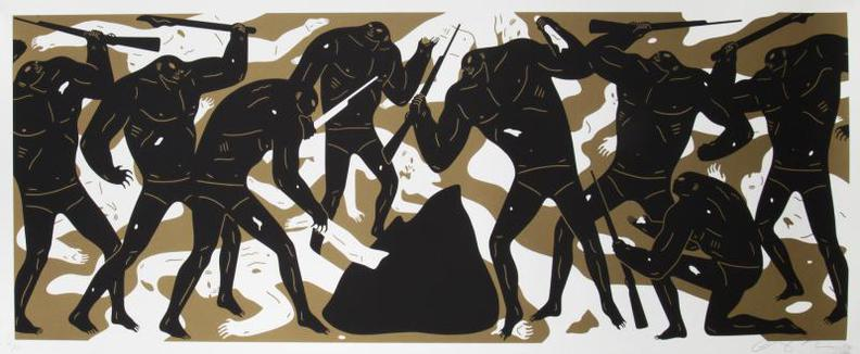 Cleon Peterson-Burning The Dead (Gold)-2016