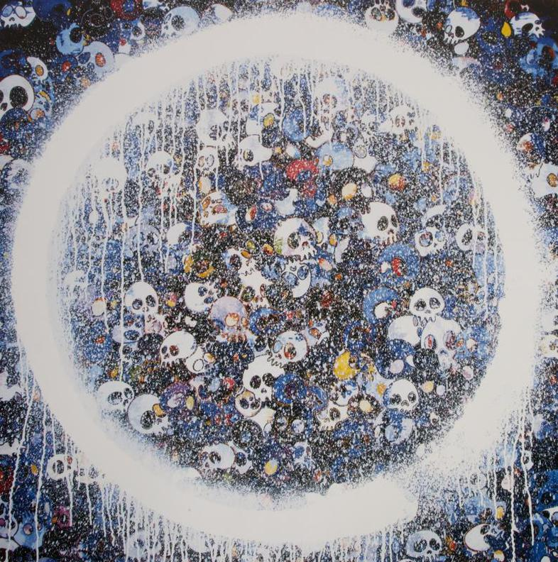 Takashi Murakami-Enso: Memento Mori Red On Blue-
