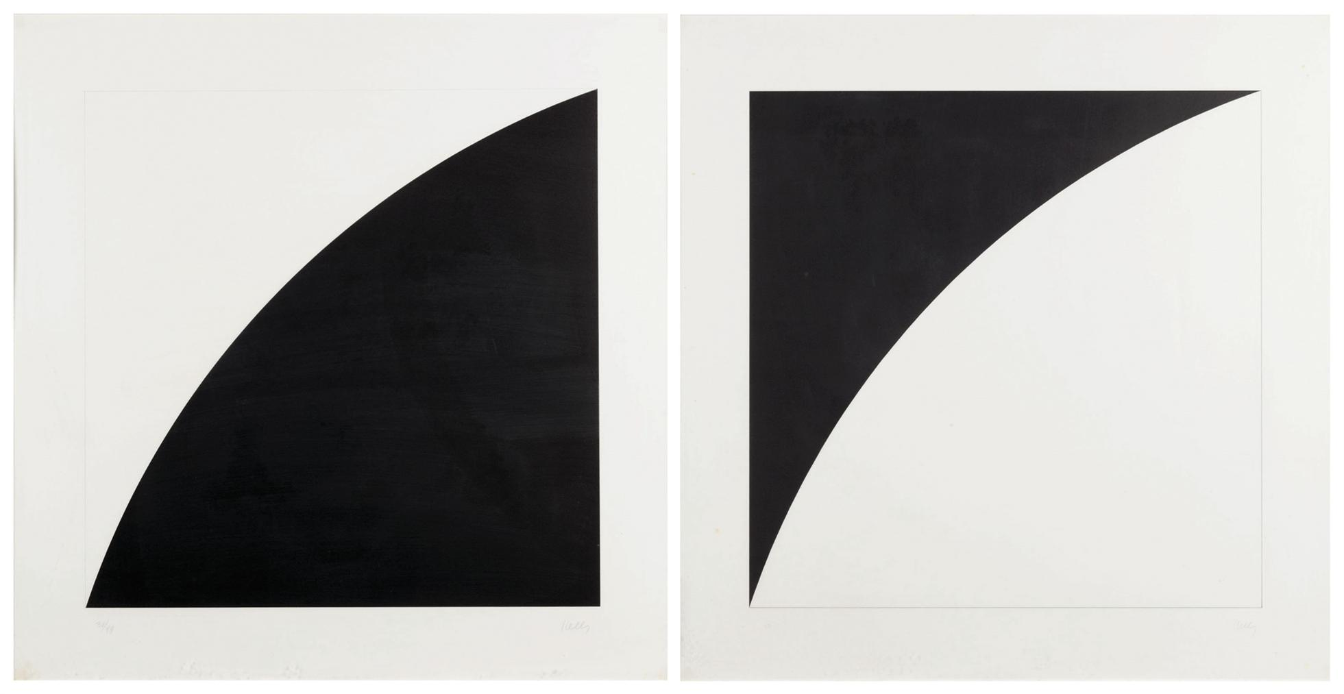Ellsworth Kelly-(I) White Curve I; (II) Black Curve I-1973