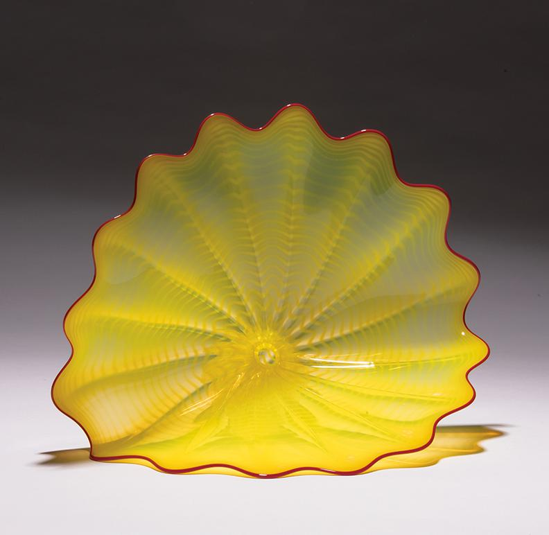 Dale Chihuly-Buttercup Yellow Persian With Red Lip Wrap-1996
