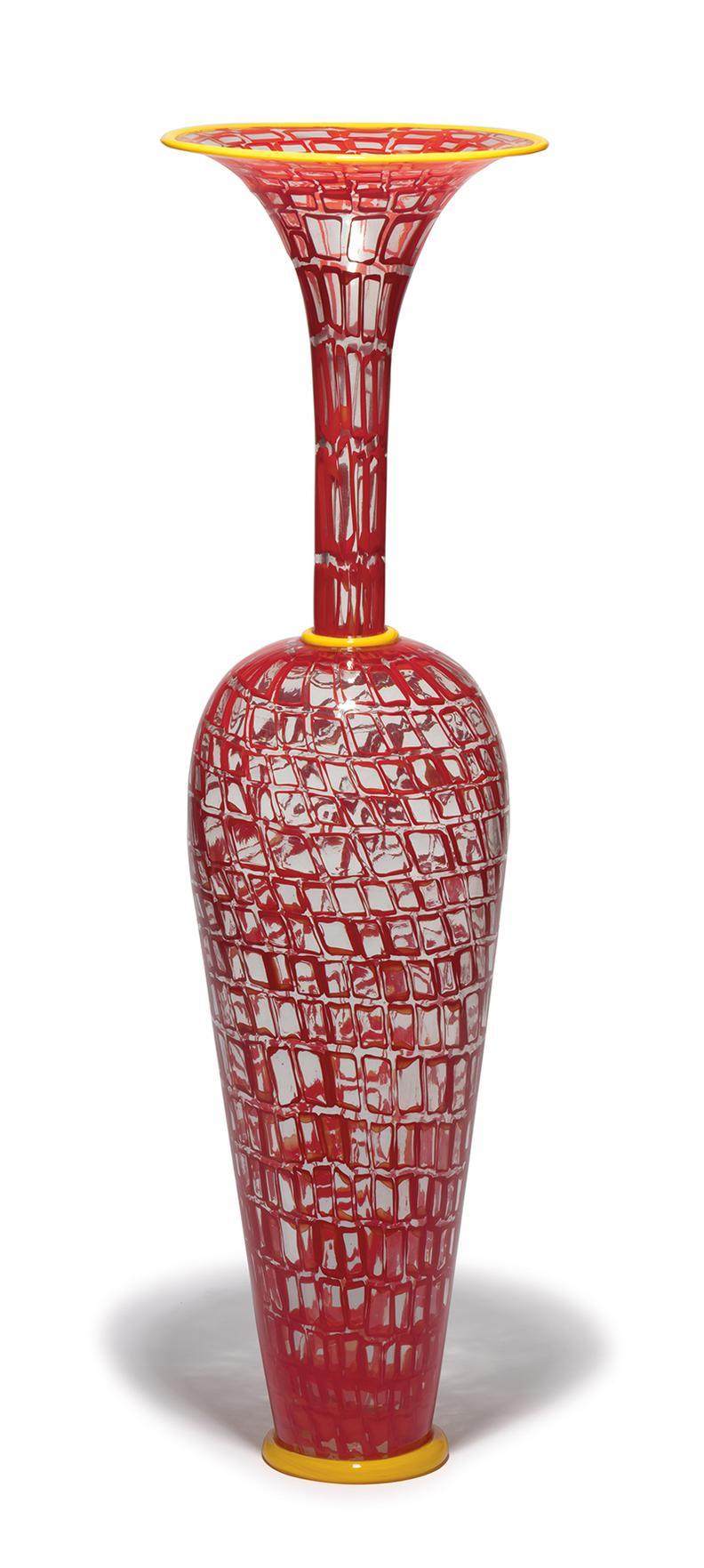 Dante Marioni - Red Mosaic Vase-1999
