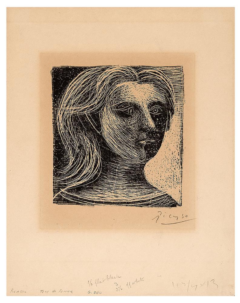 Pablo Picasso-Tete De Femme, Face Et Profil (From Picasso, Dessins)-1925
