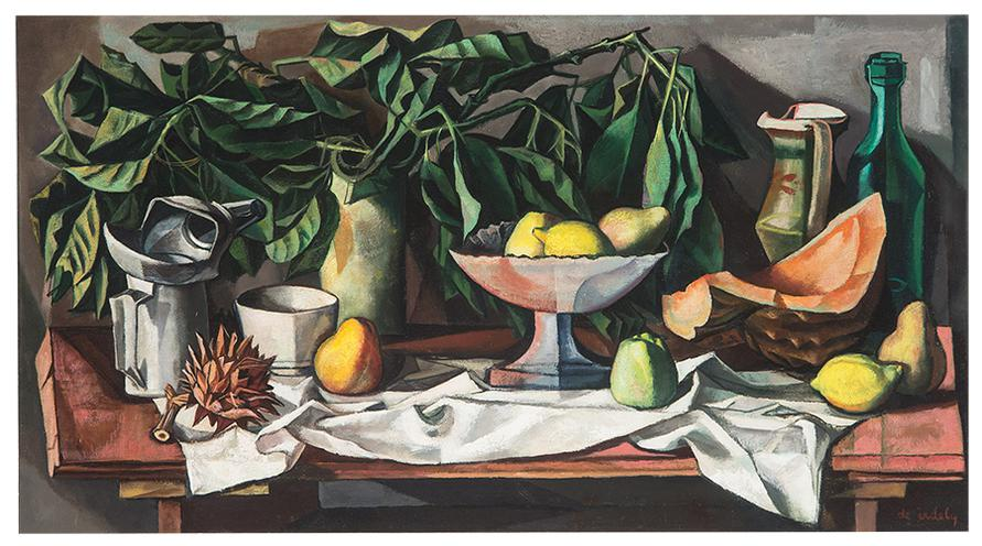 Francis De Erdely - Still Life With Melon And Fruit Bowl-