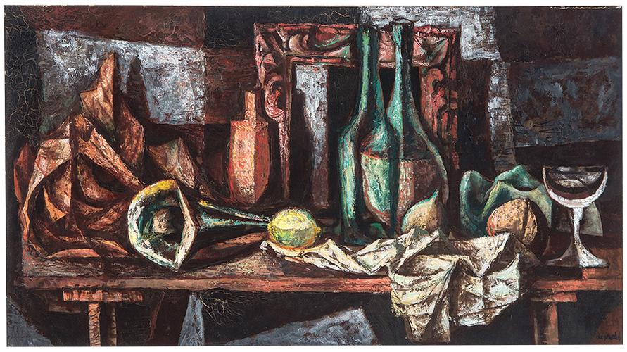Francis De Erdely - Still Life With Bottles-