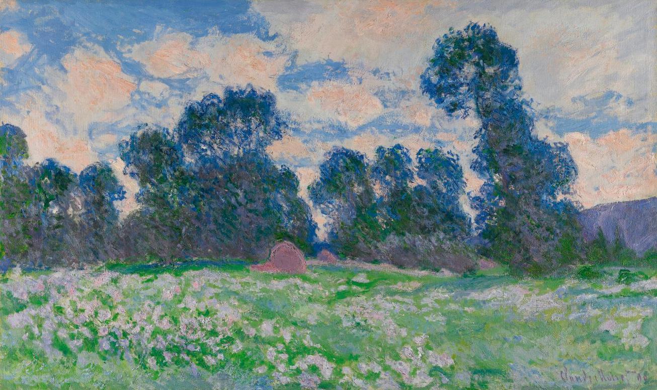 Claude Monet-Prairie, Ciel Nuageux-1890