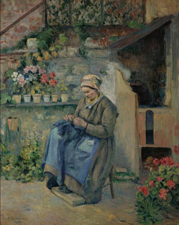 Camille Pissarro-La Mere Jolly Raccommodant-1874