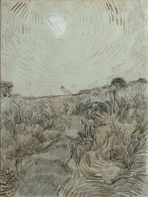 Vincent van Gogh-Evening Landscape With Two Peasants-1890