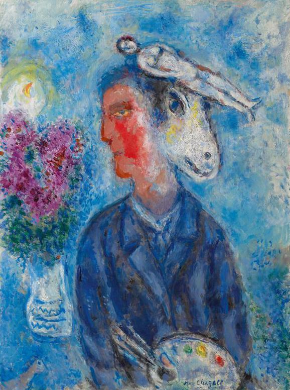 Marc Chagall-Le Peintre Au Double-Profil-1981