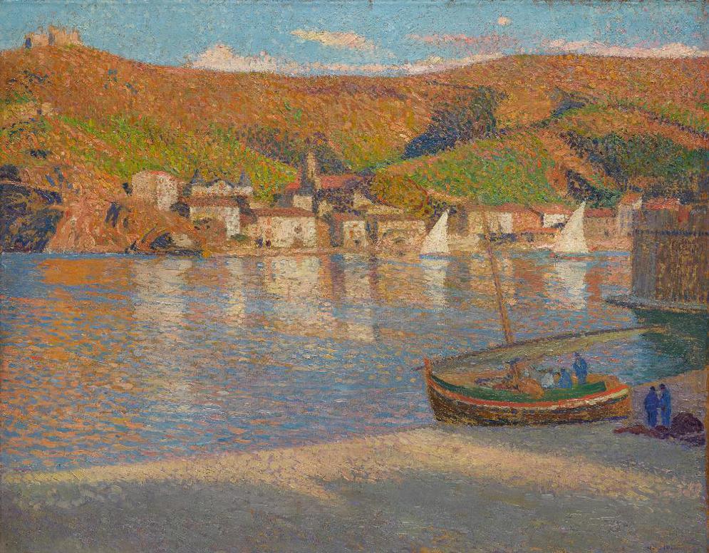 Henri Martin-Cinq Pecheurs Et Leur Barque Echouee Sur La Greve A Collioure-1930