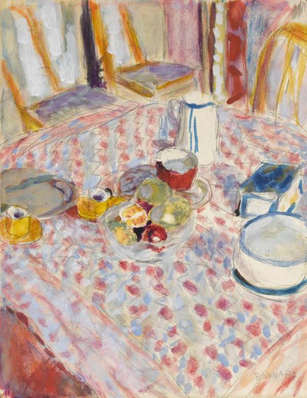 Pierre Bonnard-Nature Morte Sur Une Nappe A Carreaux Rouges-1935