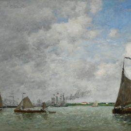 Eugene Louis Boudin-Anvers, Bateaux Sur Lescaut-1872