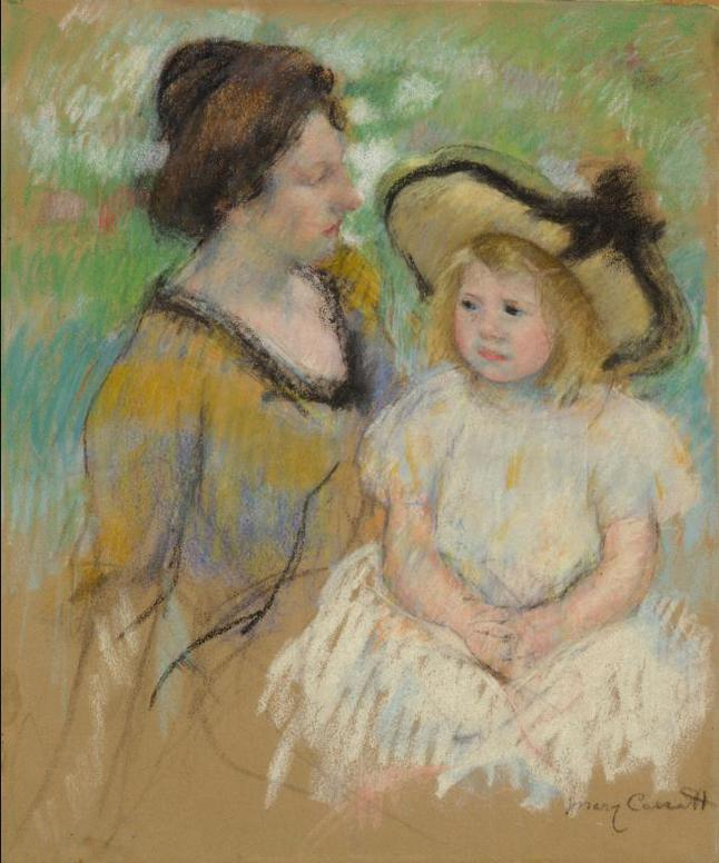 Mary Cassatt-Simone Seated On The Grass Next To Her Mother-1902