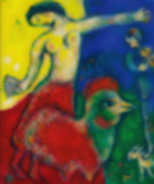 Marc Chagall-Coq Et Femme A Leventail-1978