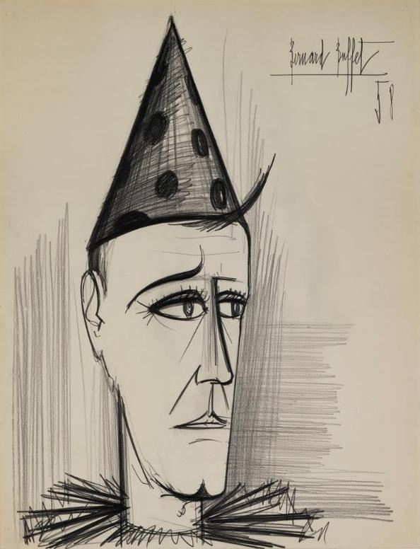 Bernard Buffet-Tete De Clown-1958