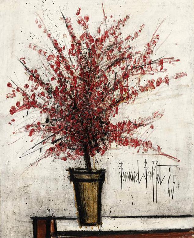 Bernard Buffet-Azalee Rouge Dans Un Pot-1965