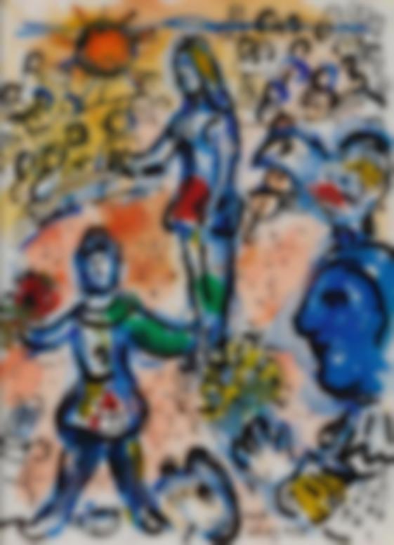 Marc Chagall-Scene De Cirque Devant Le Clown Au Visage Bleu-1970