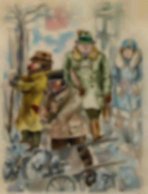 George Grosz-Schneeschipper Strassenszene Im Winter, Berlin (Snow Shoveler And Street Scene In Winter, Berlin)-1926