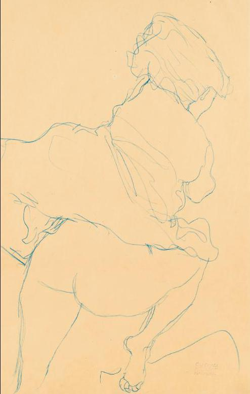 Gustav Klimt-Kauernder Halbakt In Ruckenansicht Nach Rechts (Semi-Nude Crouching Down Seen From The Back And Turned To The Right)-1918