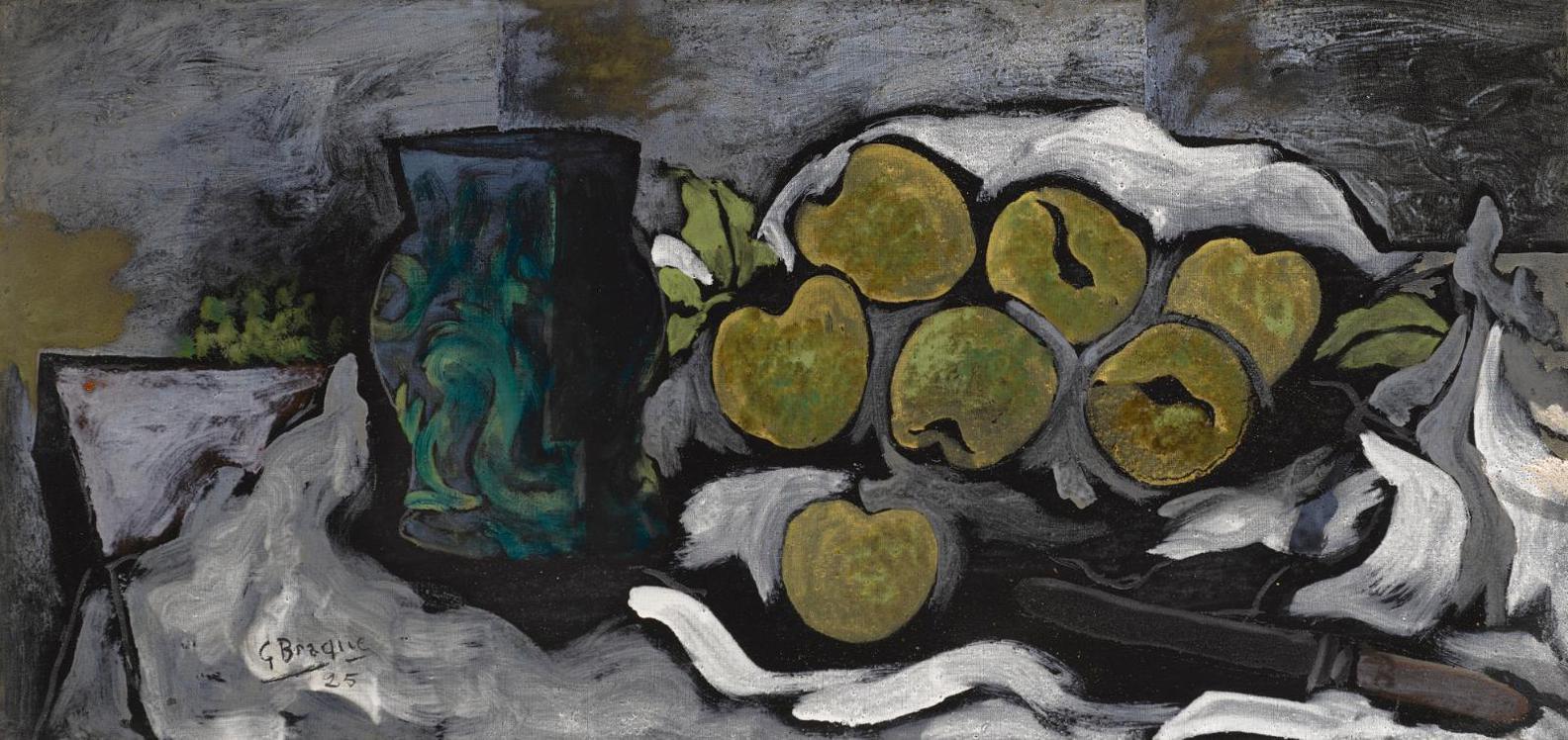 Georges Braque-Vase, Prunes Et Couteau-1925