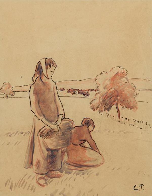 Camille Pissarro-Paysannes A Lherbe-1888