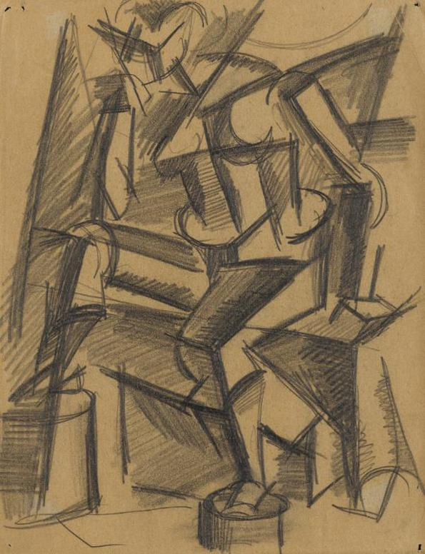 Lyubov Popova - Untitled (Seated Nude)-1914
