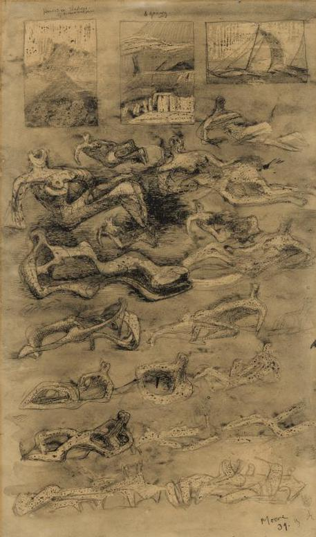 Henry Moore-Ideas For Lead Sculpture: Reclining Figures-1939