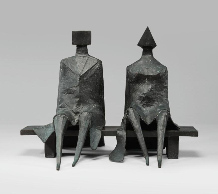 Lynn Chadwick-Maquette II Sitting Couple On Bench-1984
