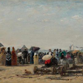 Eugene Louis Boudin-Scene De Plage A Trouville-1870