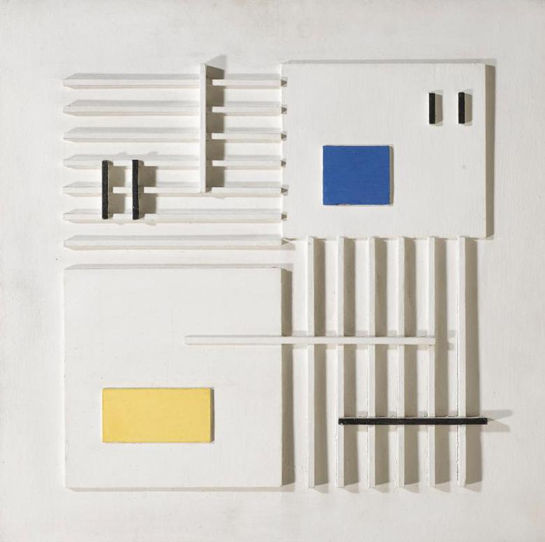 Peter Stroud-White Relief In Black, Yellow And Blue-1956