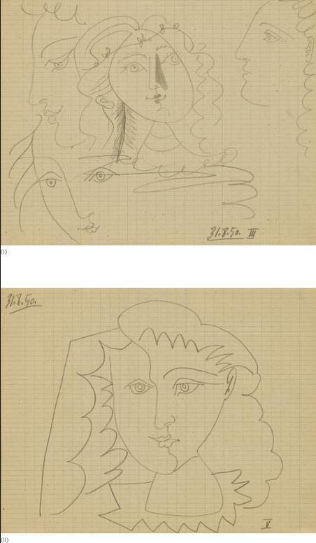 Pablo Picasso-Quatre Visages (I) & Visage De Face (II): A Pair-1950