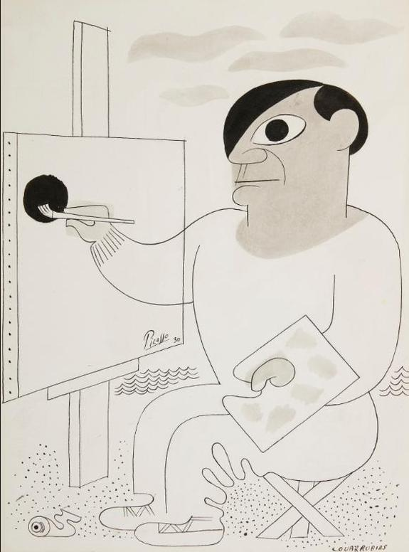 Miguel Covarrubias-Picasso At His Easel-1930