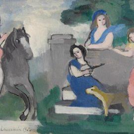 Marie Laurencin-Jeunes Filles Et Cavaliere Dans Un Parc-1950