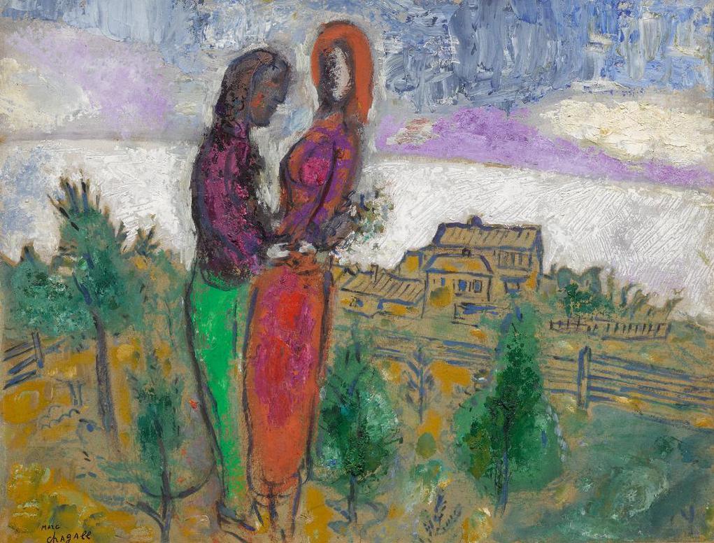 Marc Chagall-Conversation Dans Le Pre-1960