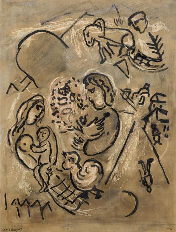 Marc Chagall-Etude Pour Le Cheval Vert Ou Composition-1956