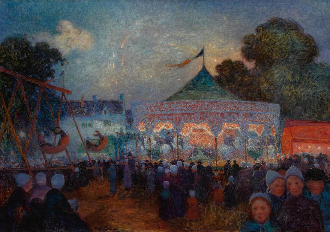 Ferdinand Du Puigaudeau-Le Manege De Nuit Et Fete Foraine-1890